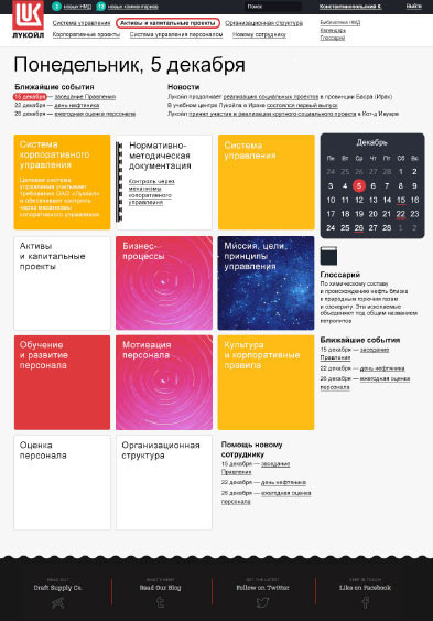 The making of the lukoil overseas intranet templates for Intranet portal design templates