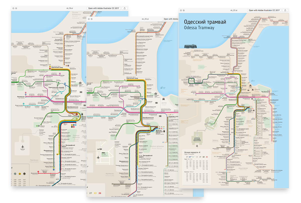 The making of the Odessa tram route map