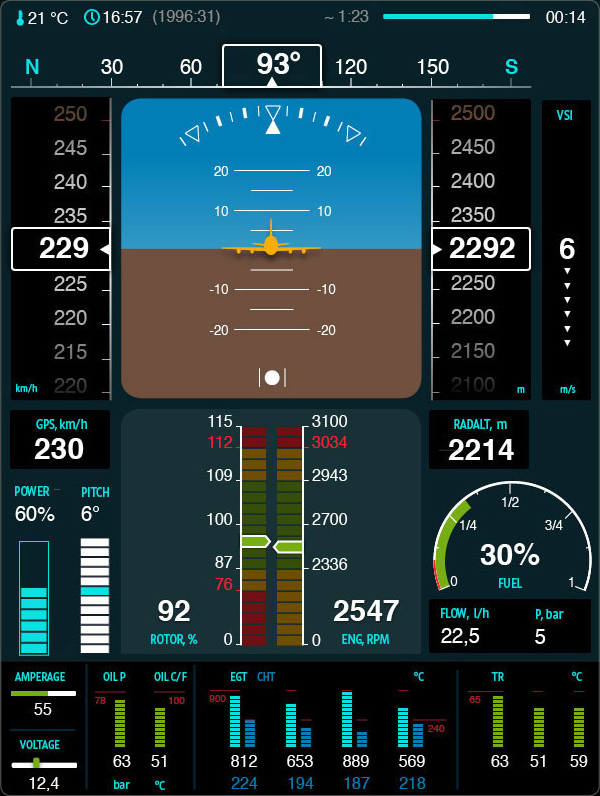 scout helicopter air navigation display interface